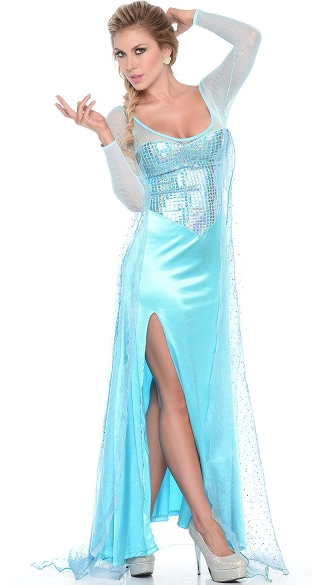 Yandy Frost Queen Costume, Sequin Blue Dress Halloween Costume, Sexy Dress Costume