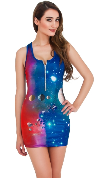 Sexy Solar Girl Dress, Sexy Solar System Costume, Planet Dress Costume, Space Print Dress