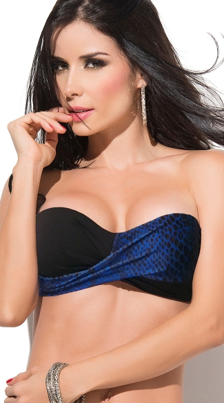 Sizzling Blue Snakeskin Bandeau, Black and Blue Twist Bandeau