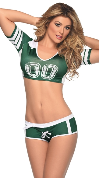 Green and White Fantasy Football Costume, Green and White Football Costume, Football Costume