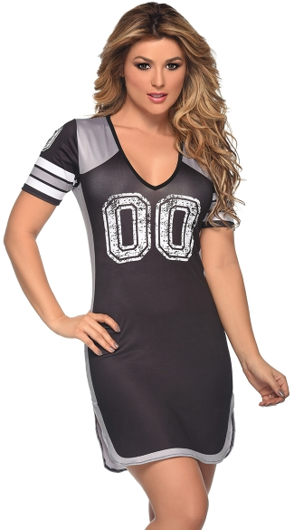 Black and Silver Fantasy Football Dress Costume, Super Bowl Dress, Football Clothes for Women