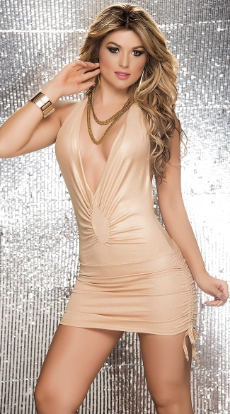 Low Cut Metallic Mini Dress with Cinched Ties, Metallic Dress, Low Cut Metallic Dress