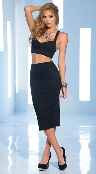 Daring High Waisted Skirt and Crop Top Set, Cop Top and Skirt Set, Two Piece Dress