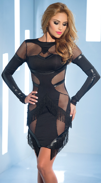 Flirty Fishnet Club Dress, Fishnet and Vinyl Dress, Fringe and Fishnet Dress