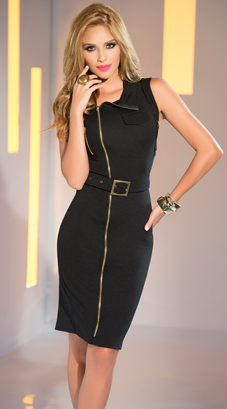 Black and Gold Belted Dress