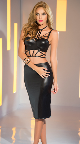 Wet Look Strappy Top and Skirt Set