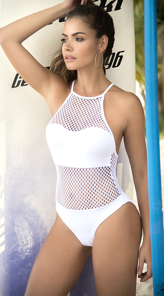 Sexy Yandy White Netted One Piece Swimsuit