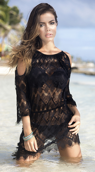 Sexy Yandy Black Crochet Cover Up Dress