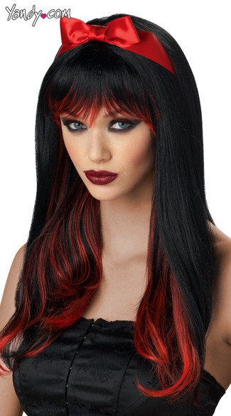 Enchanted Tresses Wig, Black and Red Wig, Long Black Wig