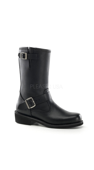 Mens Black Leather Engineer Calf Boot