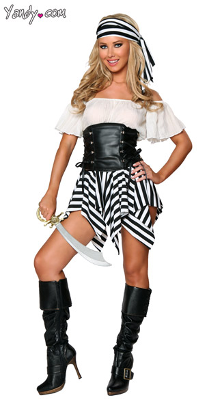 Short Pirate Costume, Exclusive Pirate Halloween Costume, Black and White Pirate Costume