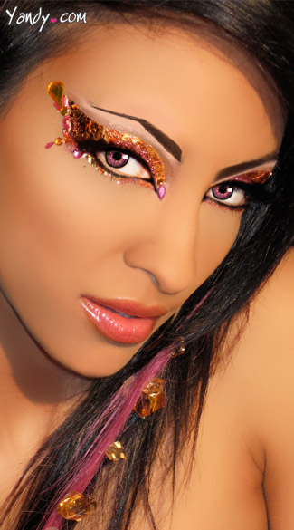 Exotica Eye Kit, Gold Glitter Eye Stickers, Costume Glitter Eye Make Up