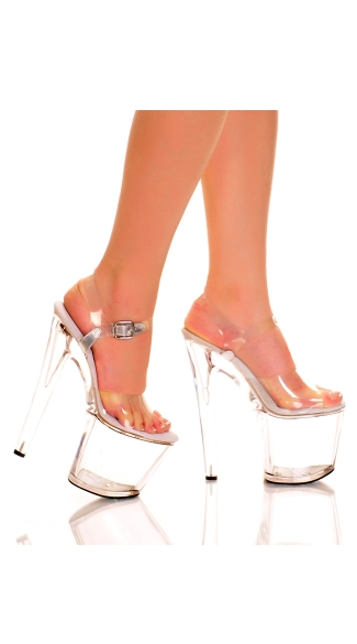 7.5 Inch Clear High Rise Platform Sandal, Sexy Clear Platform Dance Shoe, High Rise Platform with Clear Straps