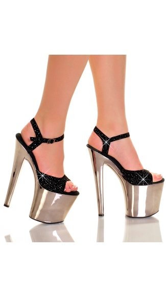 7.5 Inch Black Glitter Sandal with Chrome Platform