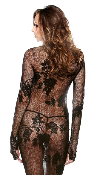 Long Sleeve Stretch Lace Gown
