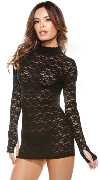 Stretch LaceMini Dress, Black Stretch Lace Long Sleeve Mini Dress, Stretch Lace Chemise