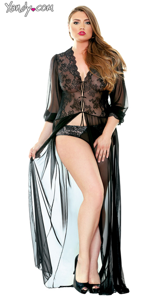 Plus Size Sheer Lace Dressing Gown