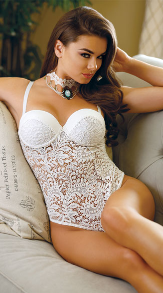 Pola Push Up Lace Teddy, white teddy, lace teddy, white lace teddy, push up teddy, sexy teddy, sexy lace teddy