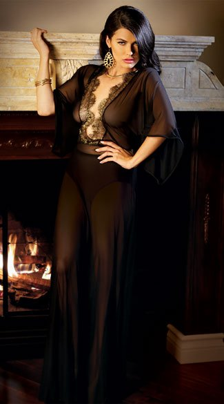Plus Size Liz Metallic Lace Caftan Gown, Plus Size Long Black Gown, Plus Size Sheer Black Gown