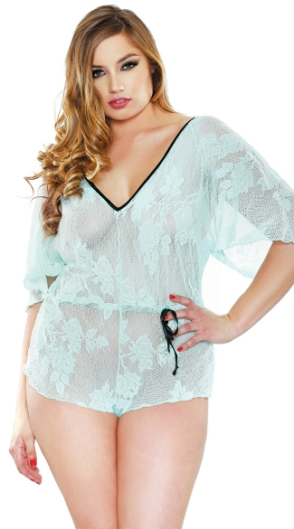 Plus Size Floral Lace Romper With Adjustable Waist And Snap Closure, Plus Size Sheer Clothing, Plus Size Lingerie