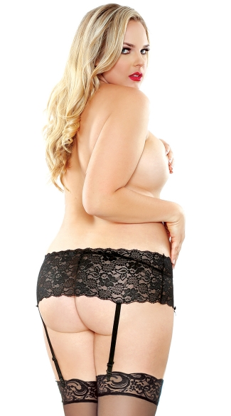 Plus Size Stretchy Lace Garter Belt and Stocking Set