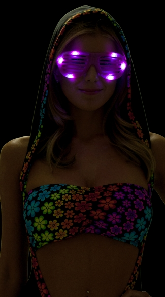 LED Flashing Lights Celebrity Shades, LED Accessories Rave, Light Up Sunglasses