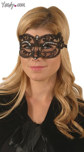 Farfallina Pizzo, Black Scroll Mask, Rhinestone Studded Mask