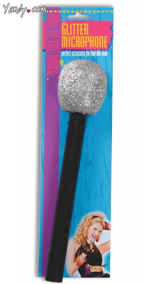 Glittery Microphone, Microphone Costume Accessory, Pop Star Costume Accessory