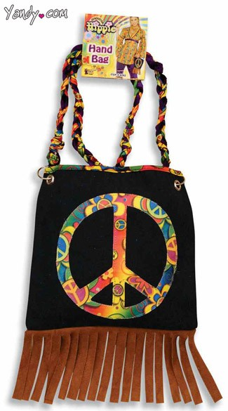 Hippie Hand Bag, Hippie Costume Accessory, Woodstock Costume Accessory, Peace Sign Purse
