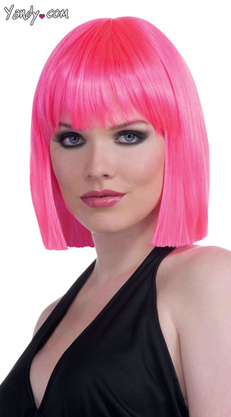 Neon Pink Bob Wig, Short Pink Wigs, Colorful Wigs With Bangs