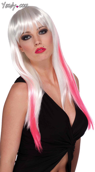 White and Pink Slash Wig
