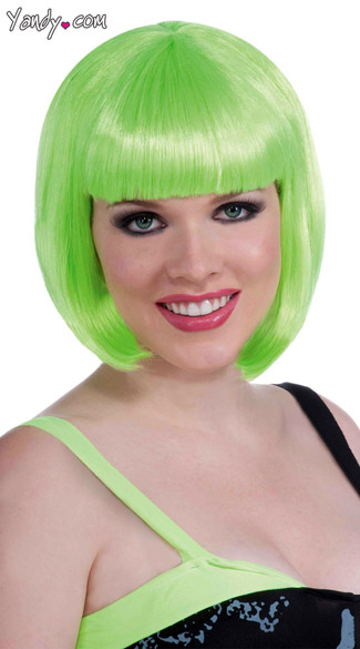 Green Vibe Wig, Neon Green Wig