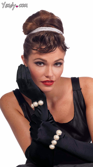 Black Gloves with Faux Pearls, Gloves with Attached Pearls, Black Satin Gloves
