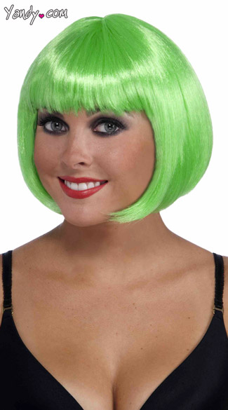 Neon Green Bobbed Wig, Bright Green Wig, Short Neon Green Wig