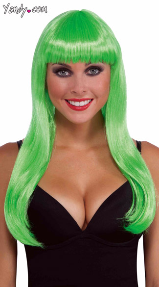 Long Neon Green Wig, Bright Green Wig, Green Wig With Bangs