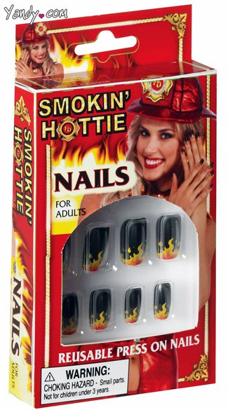Smokining Hottie Nails, Fire Print Nails