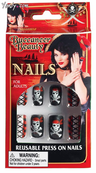Buccaneer Beauty Nails, Pirate Costume Accessory, Pirate Beauty Nails, Pirate Nails, Press On Nails
