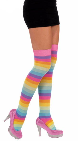 Circus Sweetie Thigh Highs, Rainbow Thigh High Stockings, Rainbow Thigh Highs