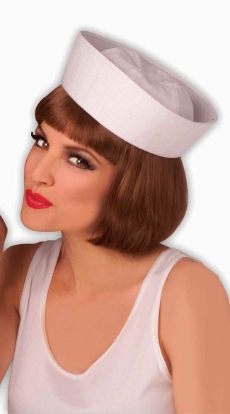 Sailor Hat, White Military Sailor Hat, White Sailor Wedge Cap
