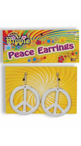 Hippie Generation Peace Earrings, Peace Symbol Jewelry, Hippie Jewelry