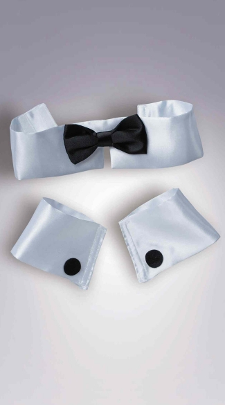 White And Black Collar And Cuff Set, Bridal Collar And Cuff Set, Sexy Collar Sets