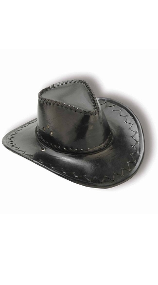Black Faux Leather Cowboy Hat, Black Cowboy Hat, Costume Cowboy Hat