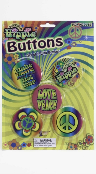 Hippie Buttons, Peace Sign Button, Make Love not War Buttons