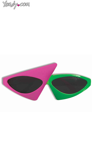 Two tone Neon Glasses, Pink and Green Glasses, 80s Glasses