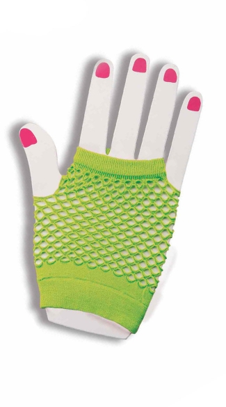 Hot Green Fishnet Fingerless Gloves, 80s Costume Accessories, Retro Costume Accessory, Fishnet Gloves, Fishnet Accessory