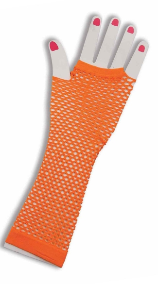 Neon Orange Fingerless Fishnet Gloves