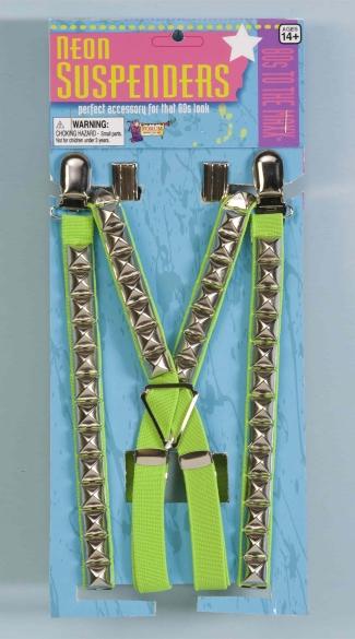 Neon Green Studded Suspenders, Neon Accessories, Neon Suspenders, Neon Green Accessories, Studded Accessories