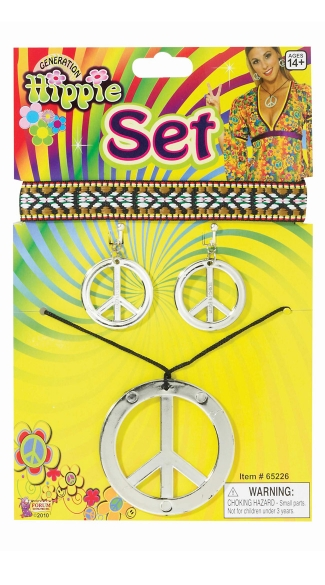 Hippie Earrings and Necklace, Peace Sign Earrings, Peace Necklace