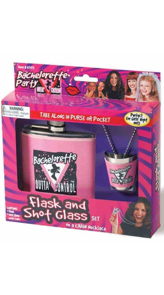 Bachelorette Flask and Shot Glass, Pink Flask, Bridal Flask