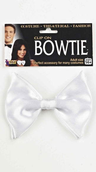 White Clip On Bow Tie, White Bow Tie, Costume Bow Tie